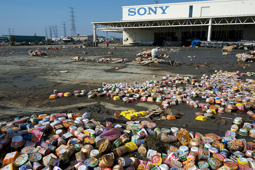 A sony factory in the Sendai port  area full of mud and rubbish after the earthquake and tsunami that swept through the area, Sendai, Japan. The earthquake, tsunami and nuclear fallout has meant that the March 11th quake was the most expensive natural disaster known to man..13 Mar 2011..