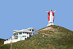 GIGANTIC JESUS SCULPTURE ATOP HILL<br />