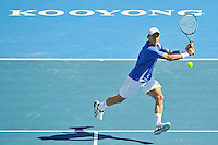 MELBOURNE, 14 JANUARY - Nikolay Davydenko (RUS) hits a backhand in a match against Lleyton Hewitt (AUS) on day three of the 2011 AAMI Classic at Kooyong Tennis Club in Melbourne, Australia. (Photo Sydney Low / syd-low.com)