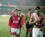 David Phillips leaves the field dejected - UEFA Cup - quarter final 2nd leg - Nottingham Forest v Bayern Munich - City Ground - Nottingham - England - 19th March 1996 - Picture Simon Bellis/Sportimage