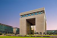 Dubai Financial District.  The Gate Building housing the DIFC, the international finance centre..