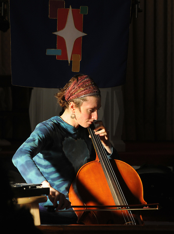 Cellist, Sharon Penz, performing with the Musical Group, Mamalama, at the Third Lutheran Church on Livingston Street, in Rhinebeck, NY, as part of the Rhinebeck Sinterklaas Celebration, on Saturday, December, 3, 2011. Photo by Jim Peppler. Copyright Jim Peppler/2011..