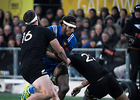 NZ's Liam Coltman and NZ's Richie Mo'unga tackle France's Benjamin Fall during the Steinlager Series international rugby match between the New Zealand All Blacks and France at Forsyth Barr Stadium in Wellington, New Zealand on Saturday, 23 June 2018. Photo: Dave Lintott / lintottphoto.co.nz
