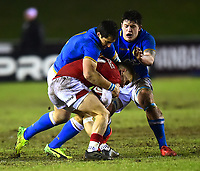 Wales U20's Harri Morgan is tackled by Italy U20's Damiano Mazza<br /> <br /> Photographer Richard Martin-Roberts/CameraSport<br /> <br /> Six Nations U20 Championship Round 4 - Wales U20s v Italy U20s - Friday 9th March 2018 - Parc Eirias, Colwyn Bay, North Wales<br /> <br /> World Copyright &not;&copy; 2018 CameraSport. All rights reserved. 43 Linden Ave. Countesthorpe. Leicester. England. LE8 5PG - Tel: +44 (0) 116 277 4147 - admin@camerasport.com - www.camerasport.com
