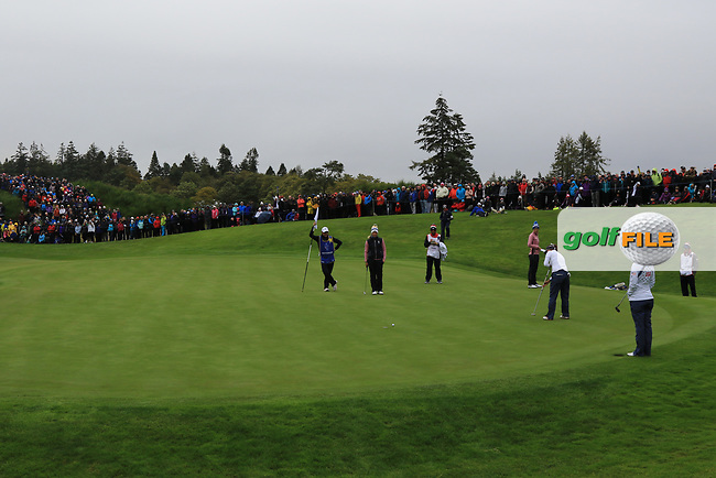 Annie Park of Team USA on the 1st green during Day 2 Fourball at the Solheim Cup 2019, Gleneagles Golf CLub, Auchterarder, Perthshire, Scotland. 14/09/2019.<br /> Picture Thos Caffrey / Golffile.ie<br /> <br /> All photo usage must carry mandatory copyright credit (© Golffile | Thos Caffrey)