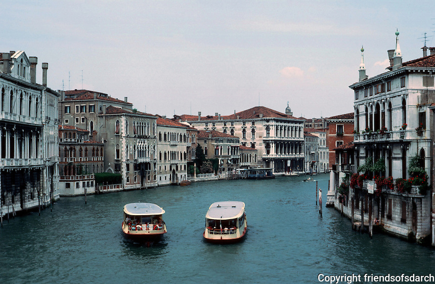 Venice:   Grand Canal from the Academy Bridge.  Photo '83.