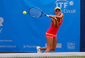 June 13th 2017, The Northern Lawn tennis Club, Manchester, England; ITF Womens tennis tournament; Arina Rodionova (AUS) plays a backhand during her first round singles match against number 8 seed Su Jeong Jang (KOR); Rodionova won in three sets