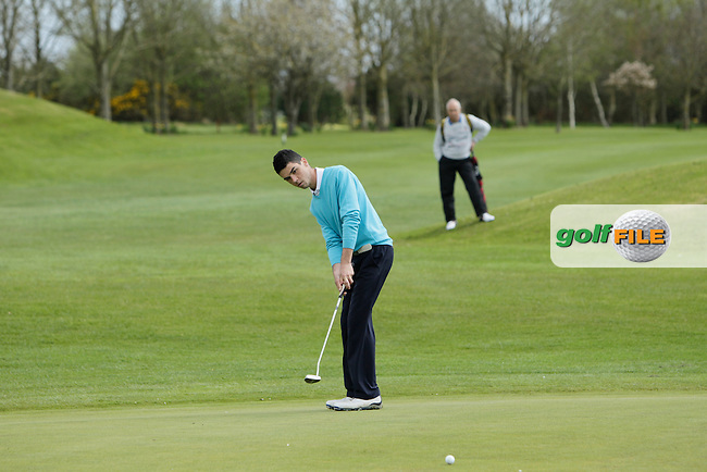 Jack Blake (Forest Little) on the 14th green during Day 1 of The Munster Youths' Amateur Open Championship in Dungarvan Golf Club on Wednesday 23nd April 2014.<br /> Picture:  Thos Caffrey / www.golffile.ie