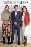Helene Svedin (l), Luis Figo and Marie Castellvi present new Cortefiel campaign at Los Gallos on October 17, 2019 in Madrid, Spain.(ALTERPHOTOS/ItahisaHernandez)