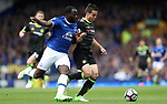 Romelu Lukaku of Everton and César Azpilicueta of Chelsea during the English Premier League match at Goodison Park , Liverpool. Picture date: April 27th, 2016. Photo credit should read: Lynne Cameron/Sportimage