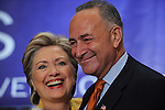 Senators Hillary Clinton and Chuck Schumer at a breakfast for New York delegates at the Sheraton Hotel at the start of the Democratic National Convention in Denver, Colorado on August 25, 2008.