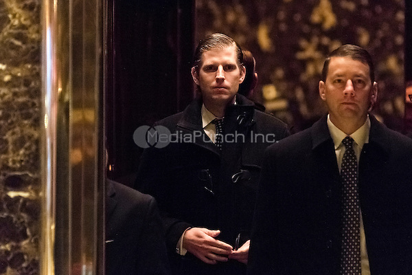 Eric Trump is seen upon his arrival in the lobby of Trump Tower in New York, NY, USA on December 14, 2016. Credit: Albin Lohr-Jones / Pool via CNP /MediaPunch