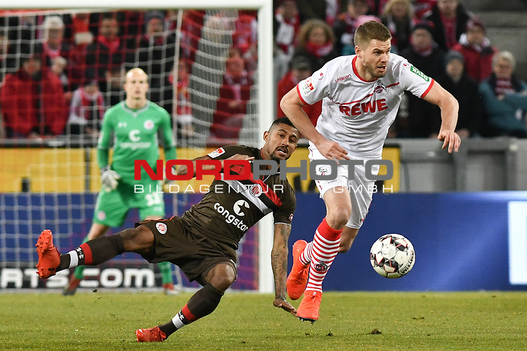 08.02.2019, Rheinenergiestadion, Köln, GER, DFL, 2. BL, VfL 1. FC Koeln vs FC St. Pauli, DFL regulations prohibit any use of photographs as image sequences and/or quasi-video<br /> <br /> im Bild v. li. im Zweikampf Jeremy Dudziak (#8, FC St. Pauli) Simon Terodde (#9, 1.FC Köln / Koeln)  <br /> <br /> Foto © nph/Mauelshagen