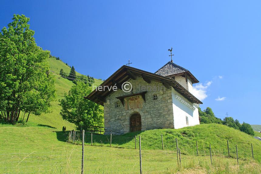 France, Savoie (73), Hauteluce, chapelle de Belleville au hameau de Belleville  // France, Savoie, Hauteluce, chapel of Belleville in the  hamlet of Belleville