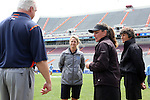 01 May 2016: UNC head coach Jenny Levy (center) with Syracuse head coach Gary Gait (left) and the referees before the match. The University of North Carolina Tar Heels played the Syracuse University Orange at Lane Stadium in Blacksburg, Virginia in the 2016 Atlantic Coast Conference Women's Lacrosse Tournament championship match. North Carolina won 15-14 in overtime.