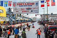 Anja Radano leaves the start line on 4th avenue during the 2019 ceremonial start of the Iditarod  in downtown Anchorage, Alaska on Saturday March 2..<br /> <br /> Photo by Jeff Schultz/  (C) 2019  ALL RIGHTS RESERVED