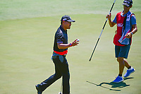 Yusaku Miyazato (JAP) after sinking his putt on 12 during Friday's round 2 of the 117th U.S. Open, at Erin Hills, Erin, Wisconsin. 6/16/2017.<br /> Picture: Golffile | Ken Murray<br /> <br /> <br /> All photo usage must carry mandatory copyright credit (&copy; Golffile | Ken Murray)