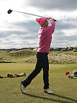 Lady Captain Sandra Kierans tees off at the Captain's Drive in at Seapoint Golf Club. Photo:Colin Bell/pressphotos.ie