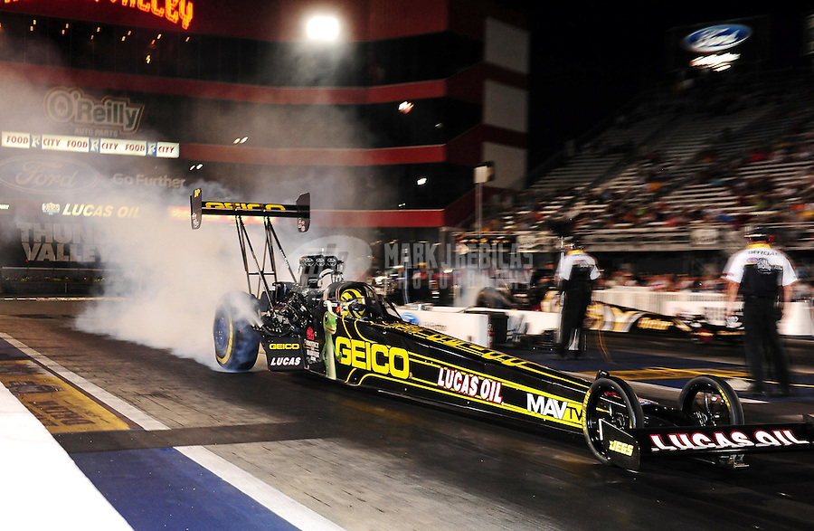 Jun. 15, 2012; Bristol, TN, USA: NHRA top fuel dragster driver Morgan Lucas during qualifying for the Thunder Valley Nationals at Bristol Dragway. Mandatory Credit: Mark J. Rebilas-
