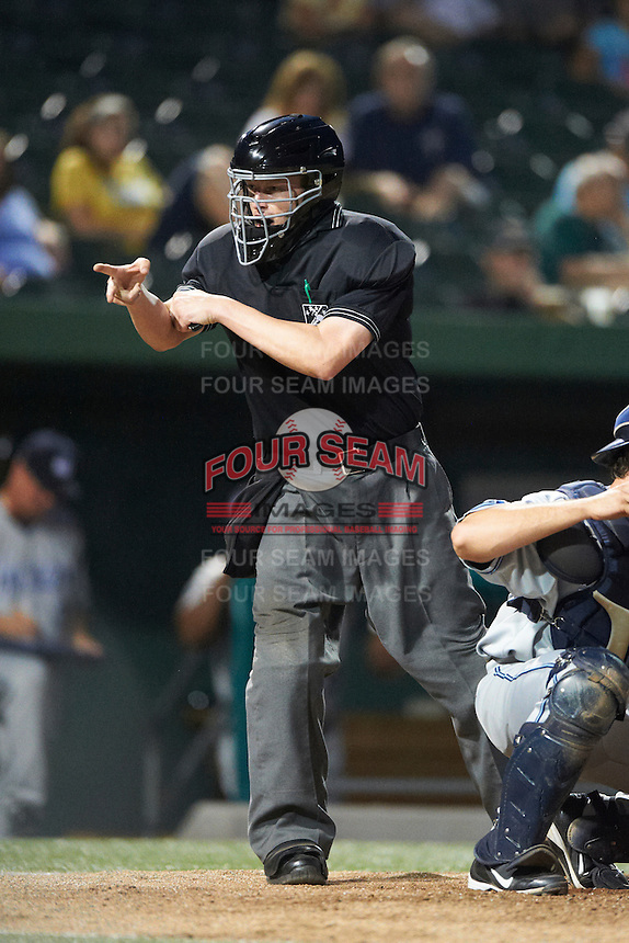 Umpire Clay Park during a Midwest League game between the South Bend Silver Hawks and West Michigan Whitecaps at Coveleski Stadium on August 15, 2012 in South Bend, Indiana.  West Michigan defeated South bend 7-1.  (Mike Janes/Four Seam Images)