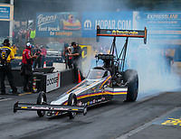 Sep 14, 2018; Mohnton, PA, USA; NHRA top fuel driver Mike Salinas during qualifying for the Dodge Nationals at Maple Grove Raceway. Mandatory Credit: Mark J. Rebilas-USA TODAY Sports