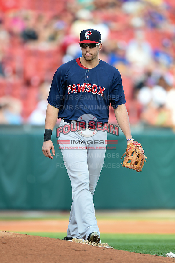 Pawtucket Red Sox third baseman Garin Cecchini (3) during a game against the Buffalo Bisons on August 26, 2014 at Coca-Cola Field in Buffalo, New  York.  Pawtucket defeated Buffalo 9-3.  (Mike Janes/Four Seam Images)