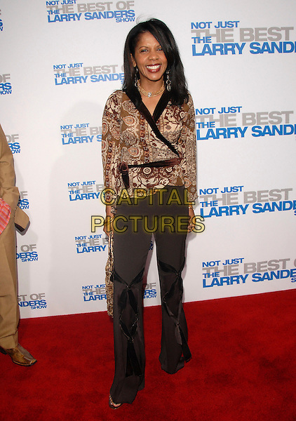 """PENNY JOHNSON.attends The Larry Sanders Show Wrap Party and DVD Launch Party for """"Not Just the Best of Larry Sanders Show DVD"""" held at The Regent Beverly Wilshire in Beverly Hills, California, USA,  April 10th 2007..full length brown patterned print wrap top.CAP/DVS.©Debbie VanStory/Capital Pictures"""