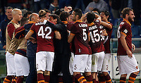 Calcio, Serie A: Roma vs ChievoVerona. Roma, stadio Olimpico, 31 ottobre 2013.<br /> AS Roma forward Marco Borriello, third from left, back to camera, partially hidden, celebrates with teammates and AS Roma coach Rudi Garcia, of France,  after scoring during the Italian Serie A football match between AS Roma and ChievoVerona at Rome's Olympic stadium, 31 October 2013.<br /> UPDATE IMAGES PRESS/Riccardo De Luca