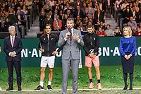Rotterdam, The Netherlands, 18 Februari, 2018, ABNAMRO World Tennis Tournament, Ahoy, Singles final, The tournament director Richard Krajicek makes his speech, left of him the winner of the 45th ABNAMROWTT  Roger Federer (SUI) and right the runner up Grigor Dimitrov (BUL) far left the CEO of the ABNAMRO Bank Kees van Dijkhuizen and far right Ahoy director Jolanda Jansen.<br /> Photo: www.tennisimages.com/henkkoster