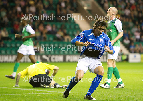 Hibs v St Johnstone...28.09.11   SPL Week.Francisco Sandaza shows his frustration after mssing a chance to score.Picture by Graeme Hart..Copyright Perthshire Picture Agency.Tel: 01738 623350  Mobile: 07990 594431