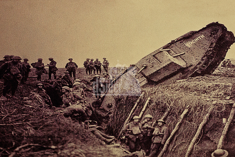 British WWI tank stuck in trench. Battle of Arras 9th April 1917