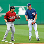 12 July 2008: Washington Nationals Manager Manny Acta (right) chats with Houston Astros second baseman Kazuo Matsui prior to a game against the Houston Astros at Nationals Park in Washington, DC. The Astros defeated the Nationals 6-4 in the second game of their 3-game series...Mandatory Photo Credit: Ed Wolfstein Photo