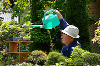 Stall holder watering plants at the Omiya Bonsai Festival, Bonsai Village, Omiya, Saitama Prefecture, Japan, May 3, 2013. The Omiya Bonsai Village was founded in 1925 and is Japan's most famous production center for bonsai.