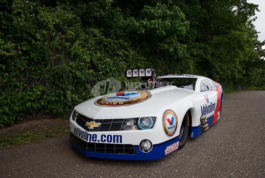Jun. 2, 2013; Englishtown, NJ, USA: The car of NHRA pro mod driver Mike Janis after winning the Summer Nationals at Raceway Park. Mandatory Credit: Mark J. Rebilas-