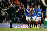 05.02.2020 Rangers v Hibs: Alfredo Morelos protected by Greg Stewart and Scott Arfield after another robust challenge by Hibs