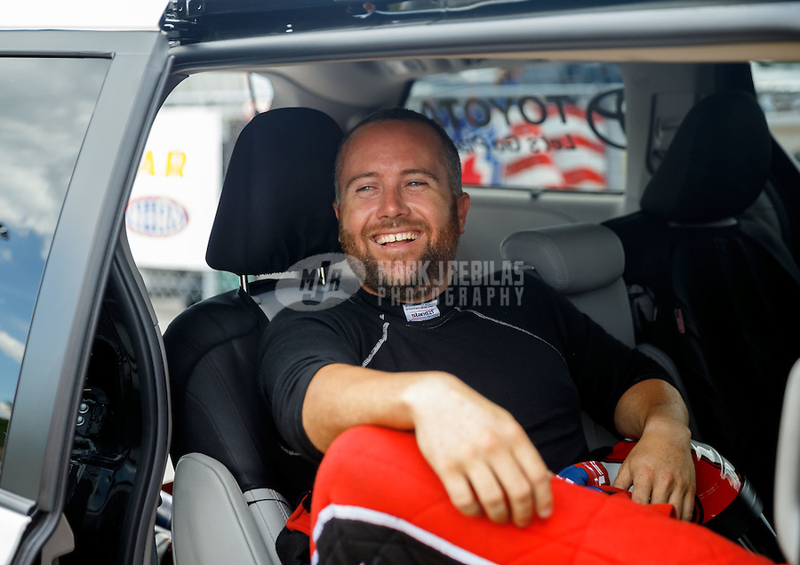 Jun 18, 2016; Bristol, TN, USA; NHRA top fuel driver Shawn Langdon during qualifying for the Thunder Valley Nationals at Bristol Dragway. Mandatory Credit: Mark J. Rebilas-USA TODAY Sports