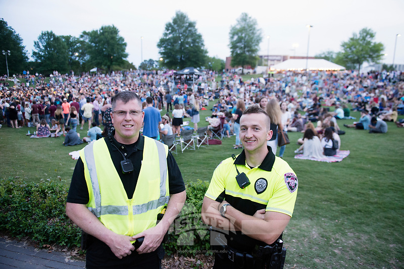 Alabama Shakes concert at the Amphitheatre. MSU police officers on duty.<br />  (photo by Megan Bean / &copy; Mississippi State University)