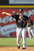 August 9 2009: Brian Bocock of the San Jose Giants during game against the Rancho Cucamonga Quakes at The Epicenter in Rancho Cucamonga,CA.  Photo by Larry Goren/Four Seam Images