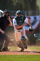 Dartmouth Big Green catcher Kyle Holbrook (9) retrieves the ball after blocking a pitch during a game against the St. Bonaventure Bonnies on February 25, 2017 at North Charlotte Regional Park in Port Charlotte, Florida.  St. Bonaventure defeated Dartmouth 8-7.  (Mike Janes/Four Seam Images)