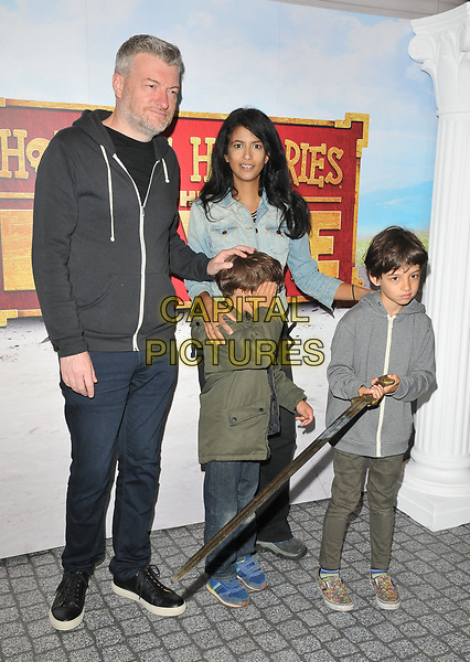 "Charlton ""Charlie"" Brooker, Konnie Huq, Huxley Brooker Huq, Covey Brooker Huq at the ""Horrible Histories: The Movie - Rotten Romans"" world film premiere, Odeon Luxe Leicester Square, Leicester Square, London, England, UK, on Sunday 07th July 2019.<br /> CAP/CAN<br /> ©CAN/Capital Pictures"