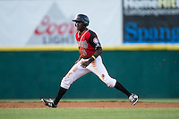 Eric Jenkins (5) of the Hickory Crawdads takes his lead off of second base against the Lexington Legends at L.P. Frans Stadium on April 29, 2016 in Hickory, North Carolina.  The Crawdads defeated the Legends 6-2.  (Brian Westerholt/Four Seam Images)