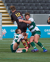 Jarryd Sage of Ampthill RUFC is tackled during the RFU Championship Cup match between Ealing Trailfinders and Ampthill RUFC at Castle Bar , West Ealing , England  on 28 September 2019. Photo by Alan  Stanford / PRiME Media Images