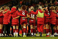 17th November 2019; Anfield, Liverpool, Merseyside, England; Womens Super League Footballl, Liverpool Women versus Everton; Liverpool FC Women manager Vicky Jepson talks to her players in front of the Kop after the final whistle