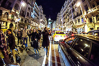 Protesters cutting traffic in the central streets of Madrid during a demonstration against corruption