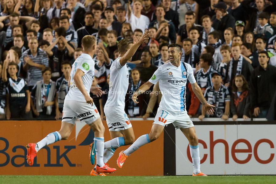 MELBOURNE 25 Oct 2014 – Jason HOFFMAN of Melbourne City celebrates his goal in the round 3 match between Melbourne Victory and Melbourne City in the Australian Hyundai A-League 2014-15 season at Etihad Stadium, Melbourne, Australia.