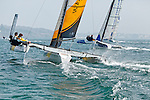 Diam 24 One Design, light, sporty, powerful, winged and designed to race with three or four people on board. The Diam 24OD is fast in light winds and confident in stronger breeze without the necessity for high level sporting prowess. The Diam 24 the new boat for the Tour de France à la Voile 2015.<br /> West Courtage, Skipper Simon Moriceau<br /> Banque Populaire, Skipper Armel Le Cléac'H, crew: Ronan Lucas, Fabien Delahaye