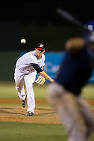 Kannapolis Intimidators relief pitcher Brannon Easterling (38) in action against the Asheville Tourists at Intimidators Stadium on May 28, 2016 in Kannapolis, North Carolina.  The Intimidators defeated the Tourists 5-4 in 10 innings.  (Brian Westerholt/Four Seam Images)