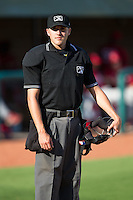 Home plate umpire Sam Dodson during the Appalachian League game between the Johnson City Cardinals and the Elizabethton Twins at Joe O'Brien Field on July 11, 2015 in Elizabethton, Tennessee.  The Twins defeated the Cardinals 5-1. (Brian Westerholt/Four Seam Images)