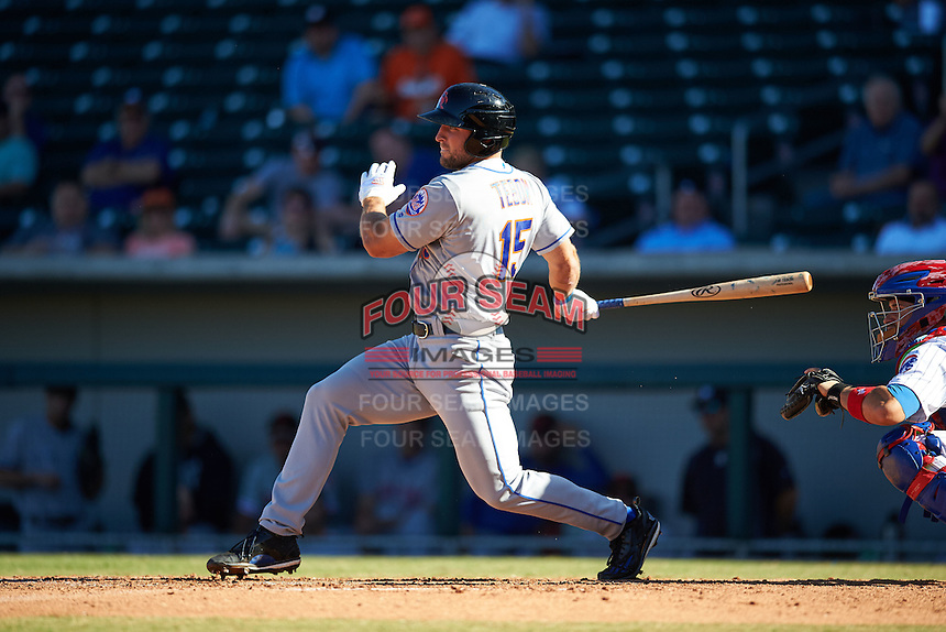 Scottsdale Scorpions designated hitter Tim Tebow (15), of the New York Mets organization, grounds into a double play in the eighth inning during a game against the Mesa Solar Sox on October 18, 2016 at Sloan Park in Mesa, Arizona.  Mesa defeated Scottsdale 6-3.  (Mike Janes/Four Seam Images)