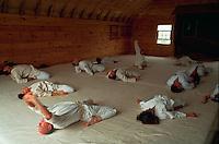 Aikido exercises in dojo.